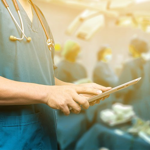Male doctor,medical students or surgeon using digital tablet